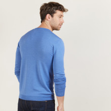 Pull col V en laine et soie - Bessie 6042 flot - 06 Bleu moyen