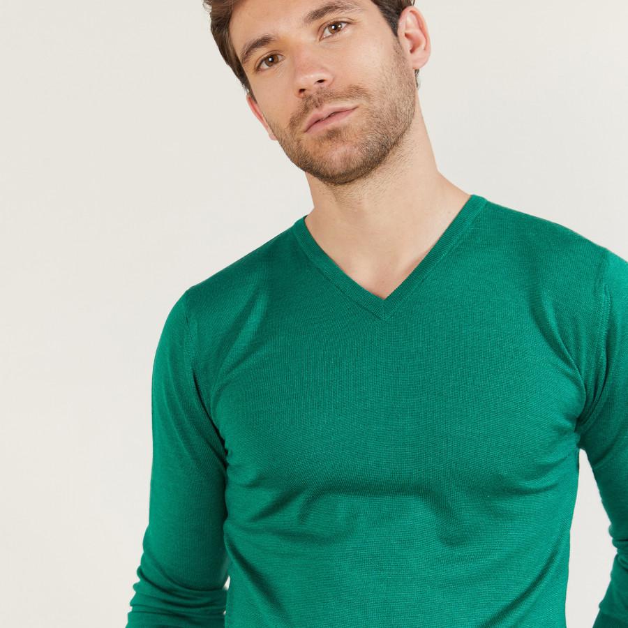 V-neck sweater in wool and silk - Bessie