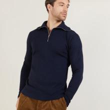 Zipped high-neck sweater in merino wool - Maé