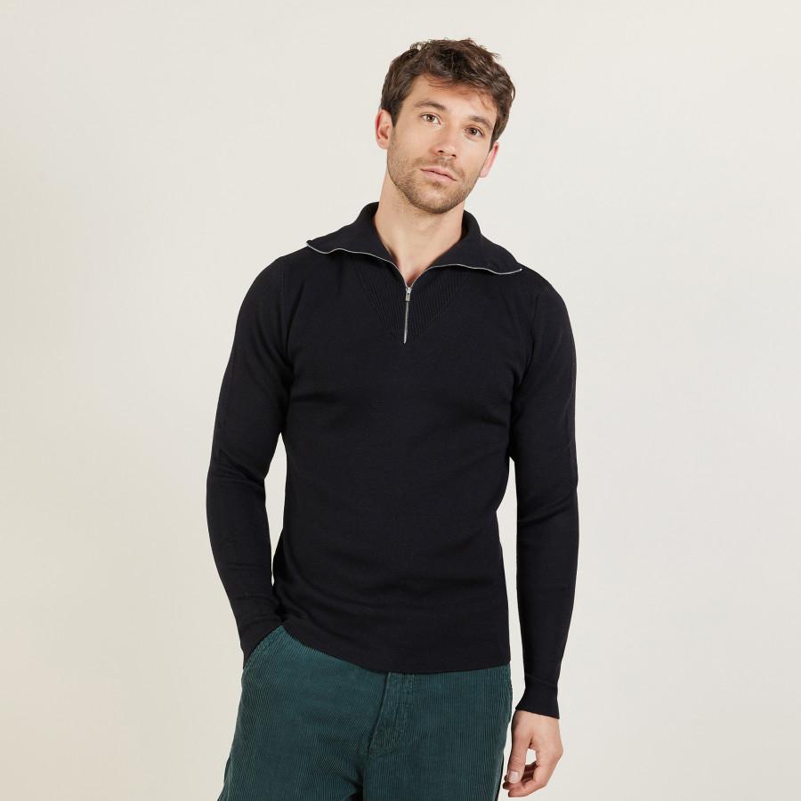 Pull col montant zippé en laine mérinos - Maé 6110 noir - 01 Noir
