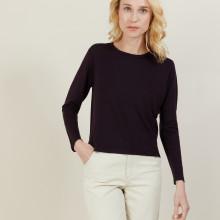 Pull court en laine mérinos - Les Halles 6182 bordeaux - 18 Violet foncé