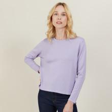 Pull court en laine mérinos - Les Halles 6191 clochette - 16 Violet clair