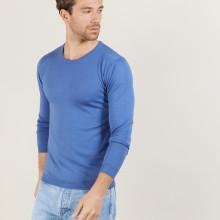 Pull ras du cou en laine mérinos - Bertille 6042 flot - 06 Bleu moyen