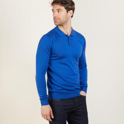 Long-sleeved merino wool polo shirt - Beryl