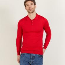 Polo manches longues en laine mérinos - Beryl 6180 coccinelle - 52 Rouge