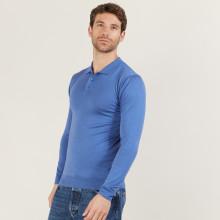 Polo manches longues en laine mérinos - Beryl 6042 flot - 06 Bleu moyen