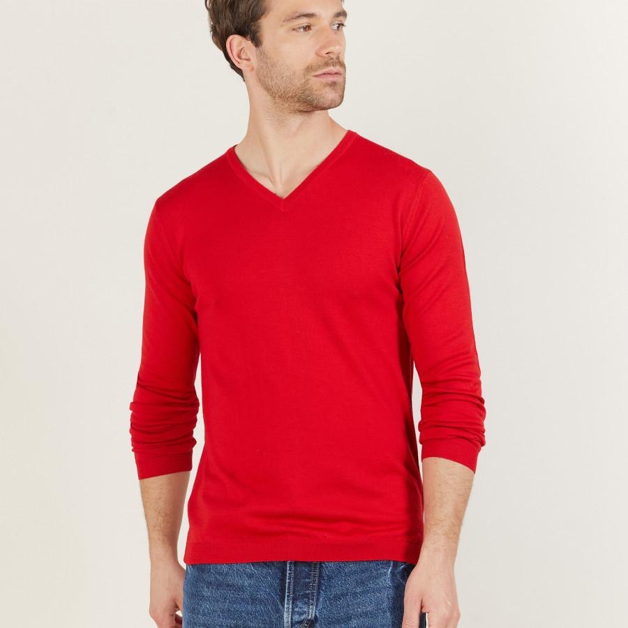 Pull col V en laine mérinos - Bibiane 6180 coccinelle - 52 rouge