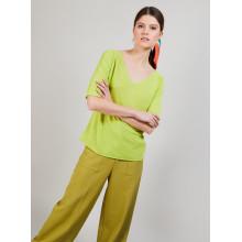 T-shirt en lin manches coudes - Bonbon 6883 flamine - 15 Orange