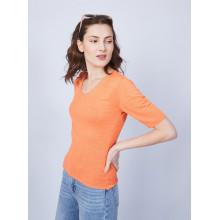 T-shirt uni col V - Mae