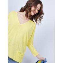 T-shirt ample col V - Malou 6461 acacia - 08 jaune