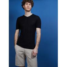 T-shirt col V en lin flammé - Bobélia 6810 noir - 01 Noir