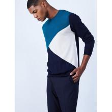 Pull tricolore en laine mérinos - Luigi 6501 dune nuage mistral - bleu clair