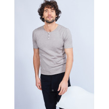 Cotton and cashmere T-shirt with Tunisian collar - Harumi