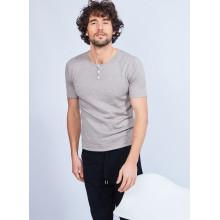 T-shirt col tunisien en coton cachemire - Harumi 6362 gazelle - 14 beige foncé