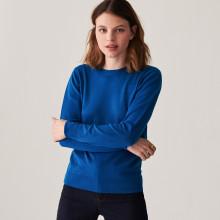 Pull col rond à point jersey en laine mérinos - Asena 7443 paon - 06 Bleu moyen