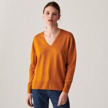 Pull col V à fentes en laine mérinos - Aurora 7460 tournesol - 15 Orange