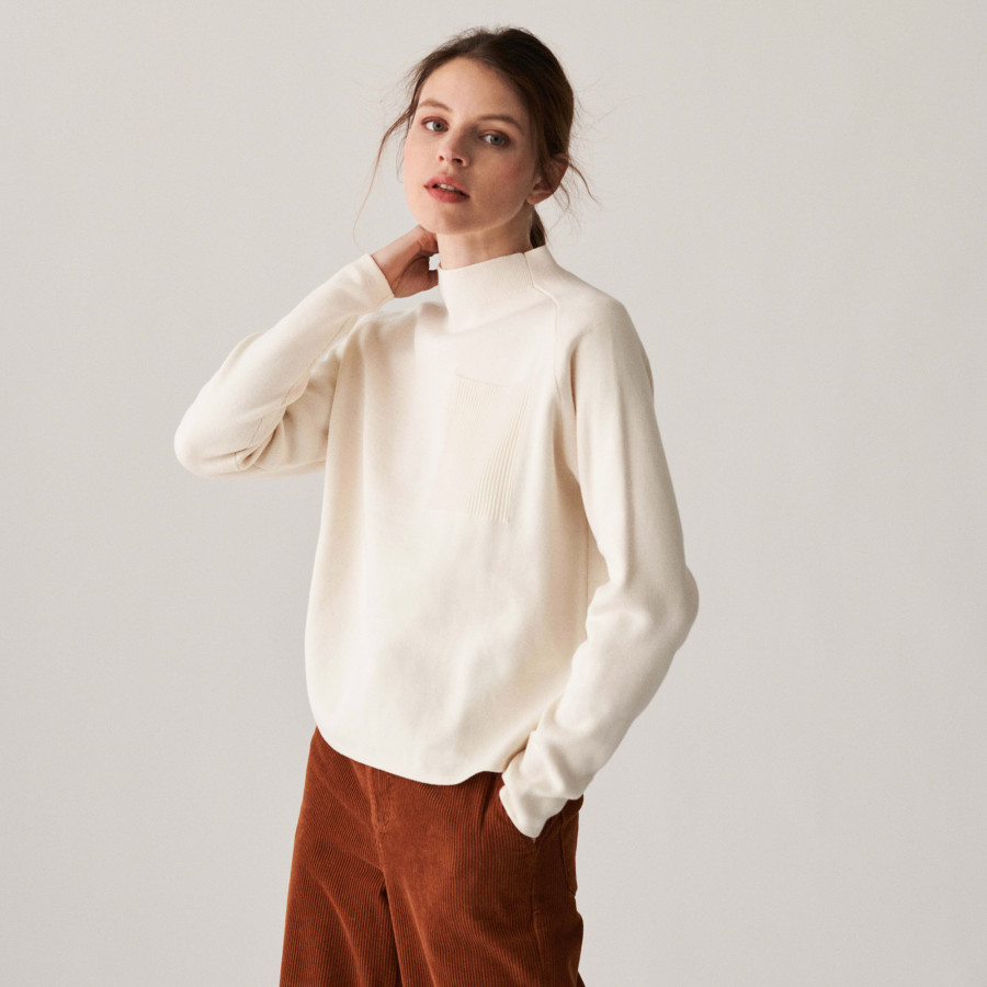 Raglan sleeve sweater with ribbed edges - Calisse