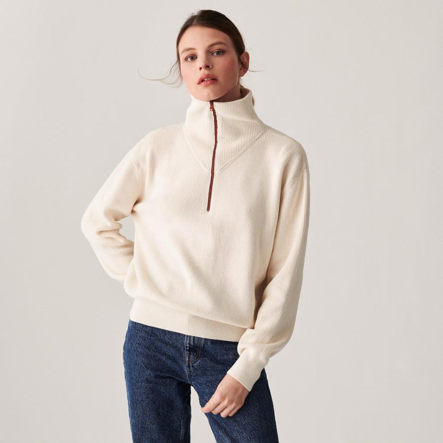 Chunky knit zipped trucker-neck sweater - Denise