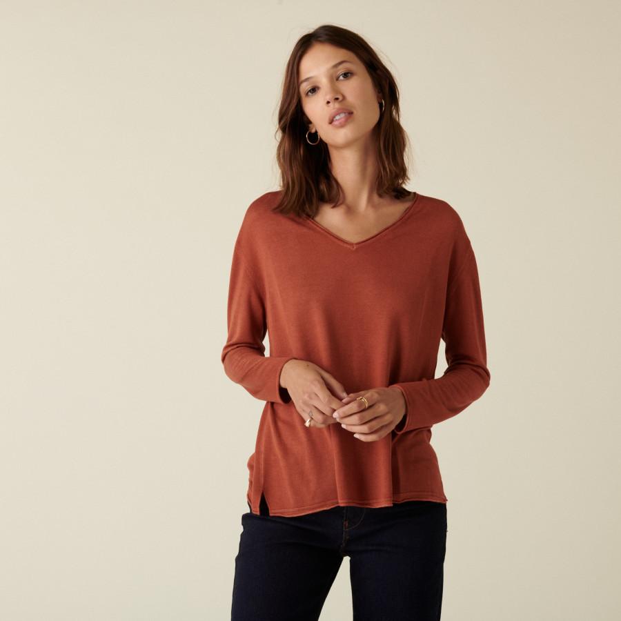 T-shirt manches longues en bambou cachemire à fentes - Aelys 7461 cognac - 92 Rouille