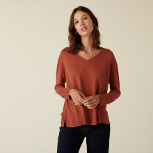 Long-sleeved bamboo cashmere t-shirt with slits - Aelys