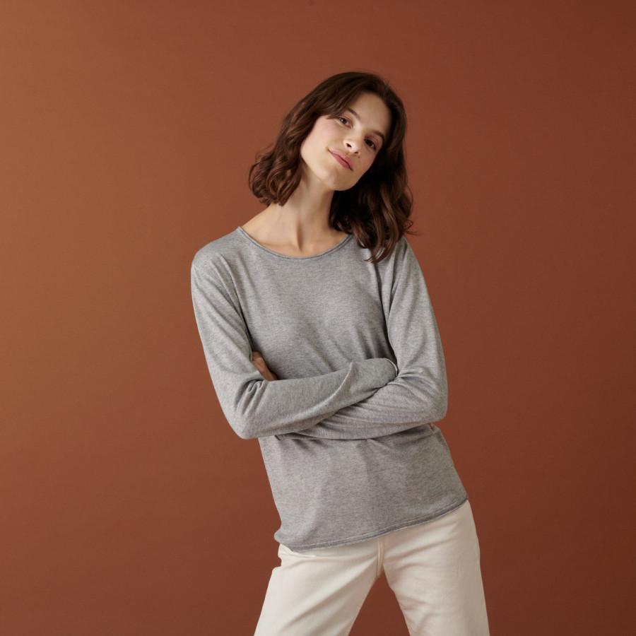 T-shirt boutonné en bambou cachemire col rond en maille fine - Aelia 7411 volute - 09 Gris moyen