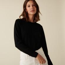 Pull col rond à point jersey en laine mérinos - Asena 7410 noir - 01 Noir