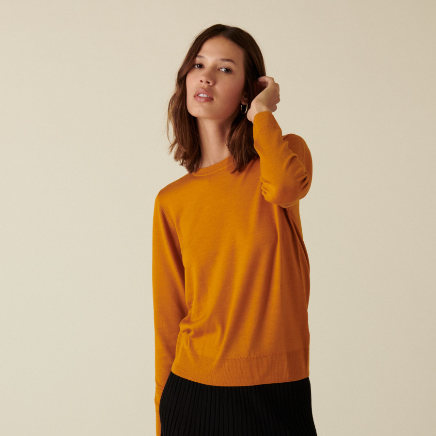 Pull col rond à point jersey en laine mérinos - Asena 7460 tournesol - 15 Orange