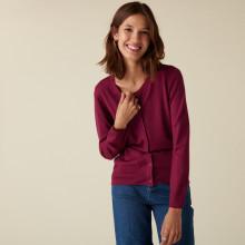 Cardigan boutonné col rond à poches en laine mérinos - Amalia 7482 griotte - 17 Violet