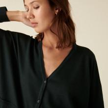 Cardigan boutonné à poches en laine mérinos - Ava 7451 bronze - 83 Kaki