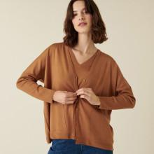 Cardigan boutonné à poches en laine mérinos - Ava 7430 noisette - 88 Camel