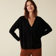 Cardigan boutonné à poches en laine mérinos - Ava 7410 noir - 01 Noir