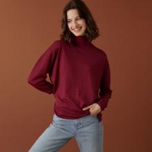 Pull col roulé à fentes en laine mérinos - Amy 7482 griotte - 17 Violet