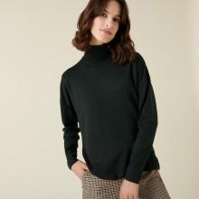 Pull col roulé à fentes en laine mérinos - Amy 7451 bronze - 83 Kaki