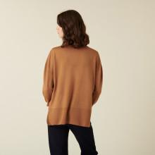 Pull col roulé à fentes en laine mérinos - Amy 7430 noisette - 88 Camel