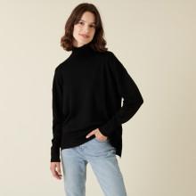 Pull col roulé à fentes en laine mérinos - Amy 7410 noir - 01 Noir