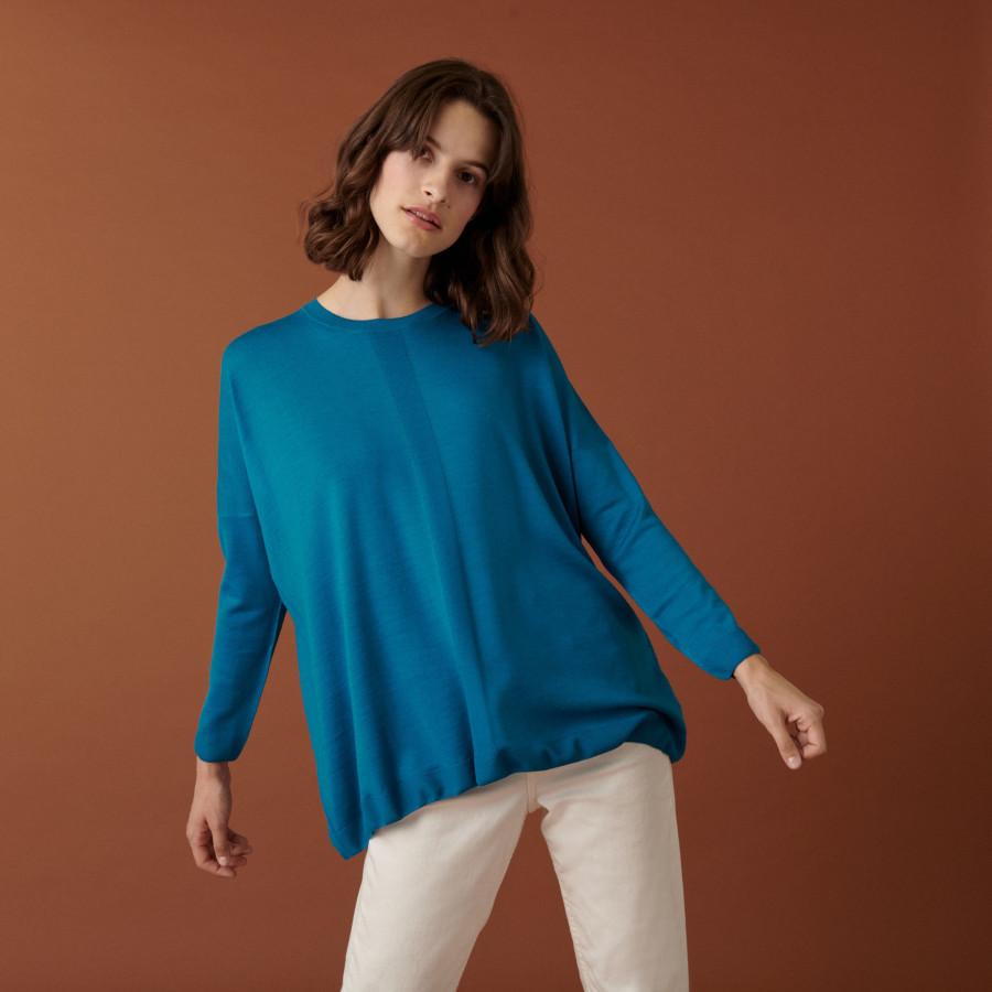 Pull ample finitions bord côtes en laine mérinos - Amerya 7443 paon - 06 Bleu moyen
