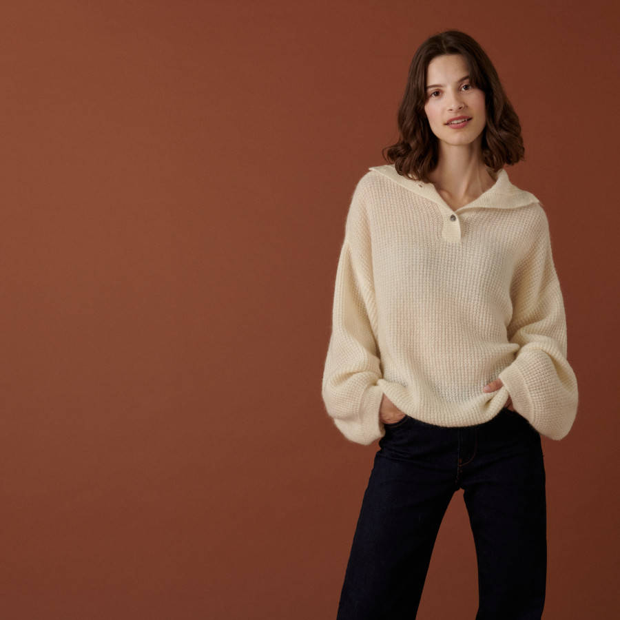 Oversized buttoned mohair sweater - Clea