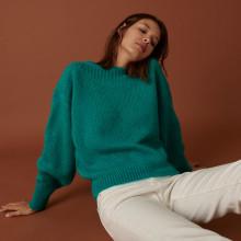 Round-neck mohair sweater in jersey point - Amandine