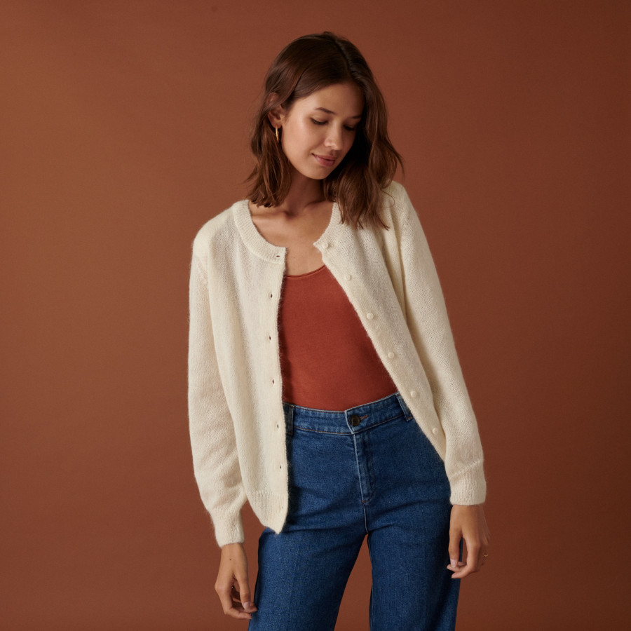 Buttoned cardigan with mohair shoulder pads - Aloise