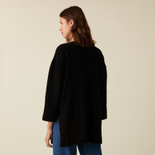 Oversized slit sweater in cashmere and recycled wool - Darius