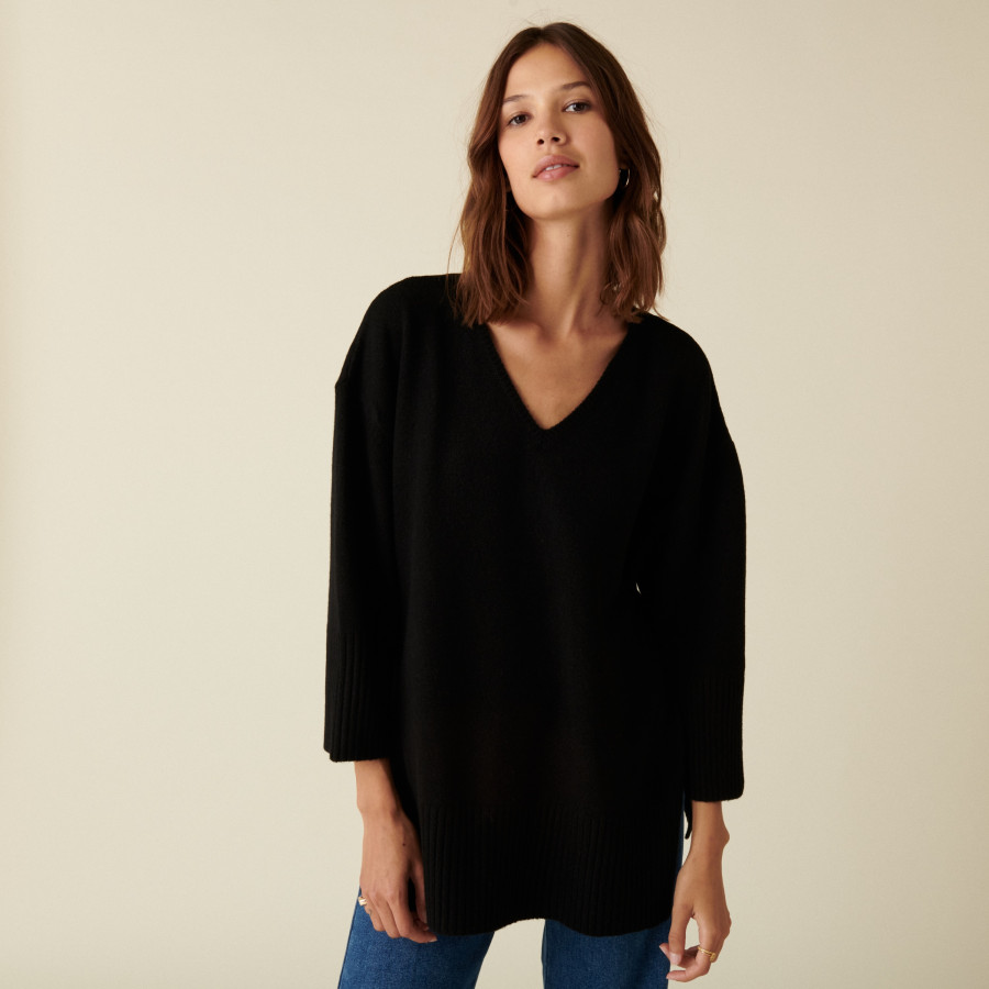 Pull ample à fentes en cachemire et laine recyclés - Darius 7410 noir - 01 Noir