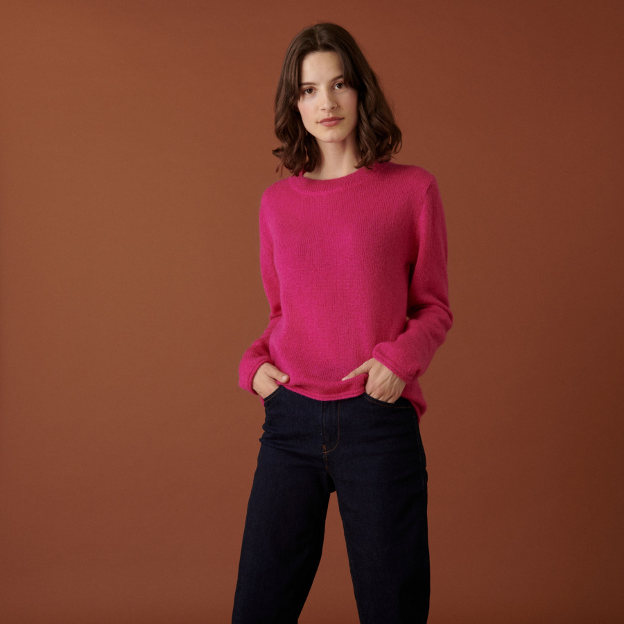 Round neck mohair sweater with rolled finishes - Alexia