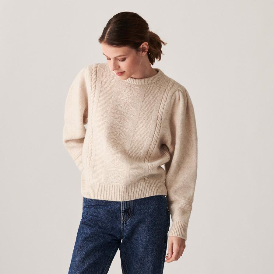 Pull manches raglan en laine cocon et maille torsadée - Carlotta 7403 ecru - 82 Ecru