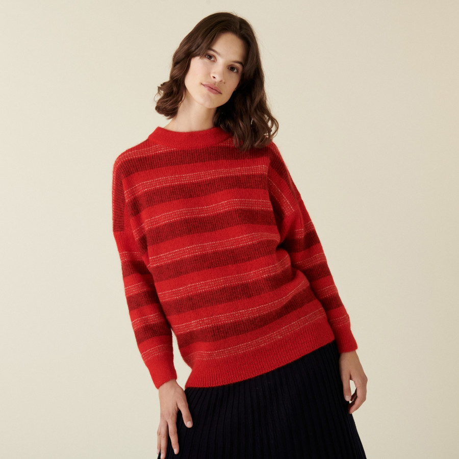 Pull col rond à rayures en mohair - Charlie 7502 rubis - 52 Rouge