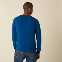 Pull col rond en cachemire - Evain 7443 paon - 06 Bleu moyen