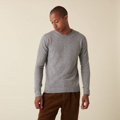 Round-neck cashmere sweater with rolled finishes - Ernest