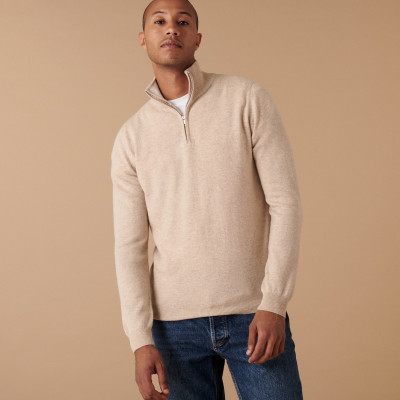 Cashmere sweater with trucker collar - Emile