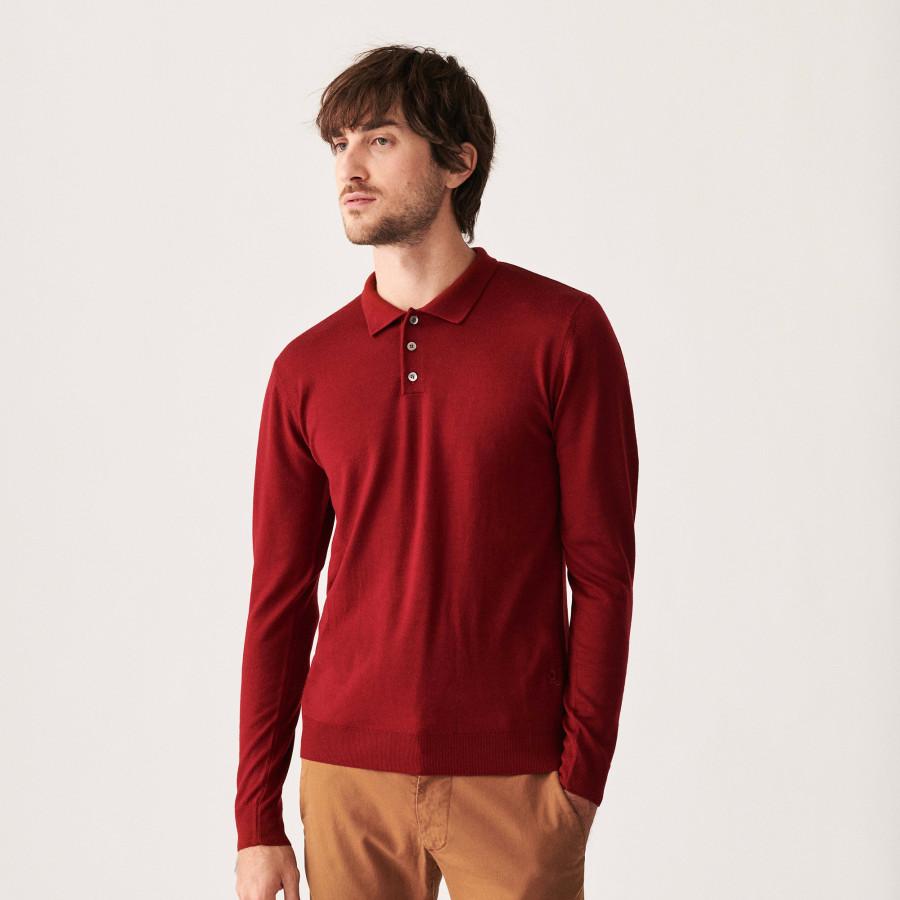Pull col polo avec logo en laine mérinos - Eni 7430 noisette - 88 Camel