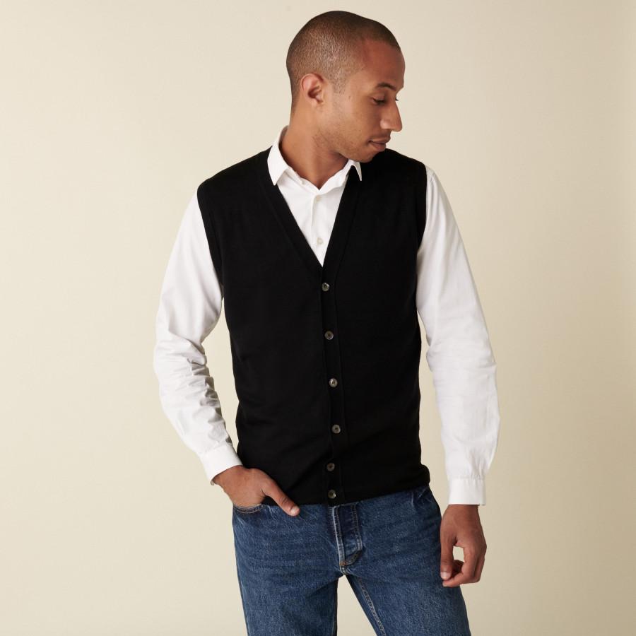 Gilet sans manches avec logo en laine mérinos - Ernardo 7410 noir - 01 Noir