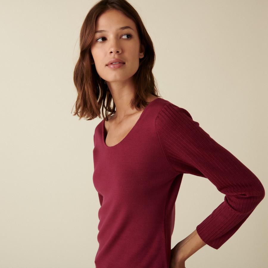 Pull col rond en laine mérinos maille fine - Altesa 7482 griotte - 17 Violet